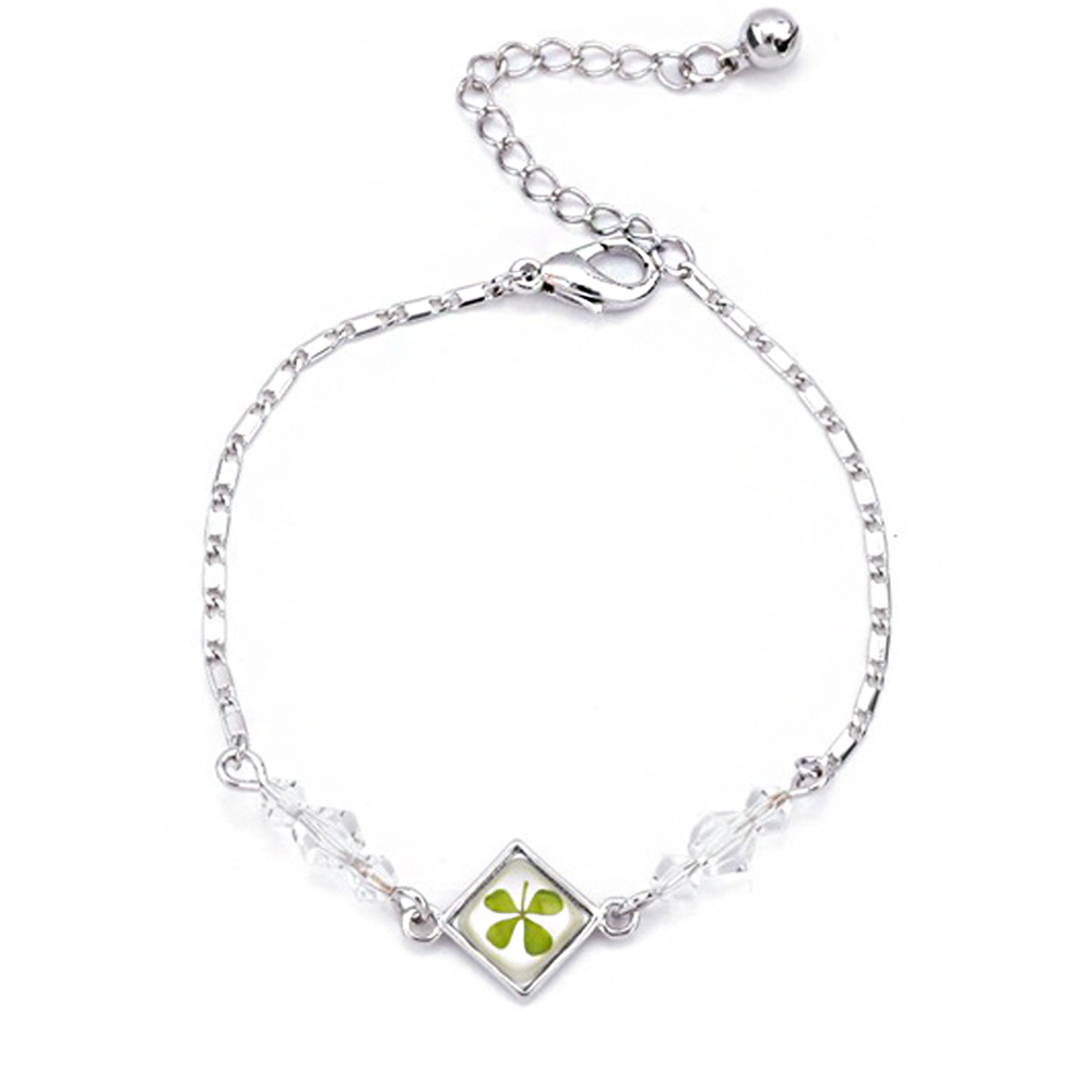 Stainless Steel Real Four (4) Leaf Clover Shamrock Square Charm Bracelet