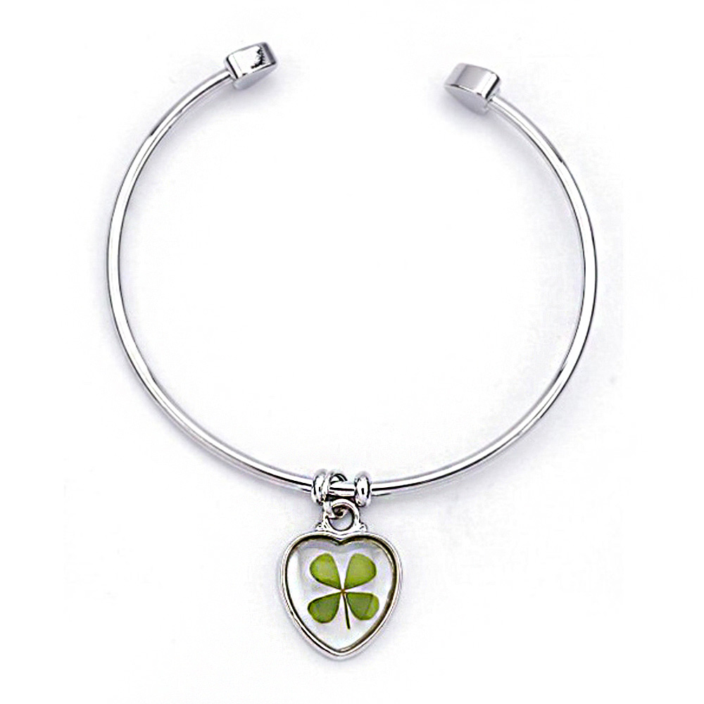 Stainless Steel Real Four Leaf Clover Good Luck Symbol Dangling Clear Heart Cuff Bracelet