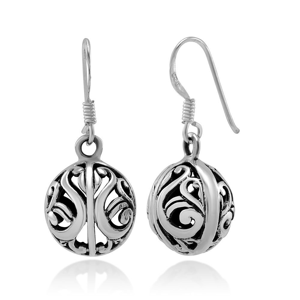 925 Sterling Silver Bali Inspired Open Filigree Ball Dangle Hook Earrings