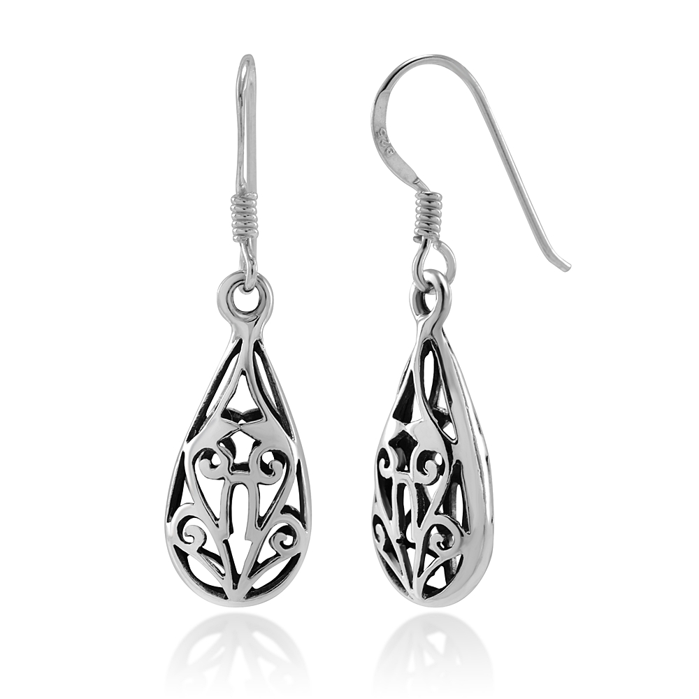 925 Sterling Silver Bali Inspired Open Filigree Puffed Teardrop Dangle Hook Earrings