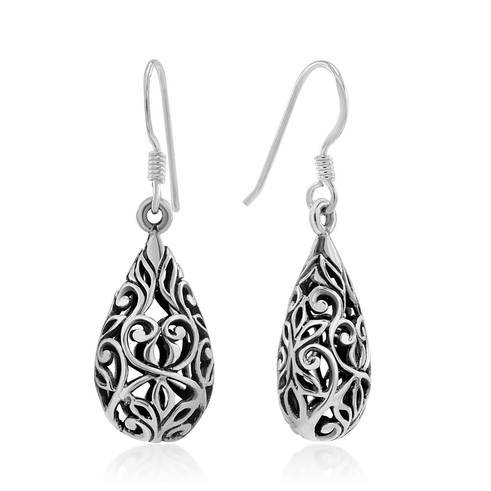 925 Sterling Silver Bali Inspired Open Filigree Puffed Teardrop 1 inch Dangle Hook Earrings