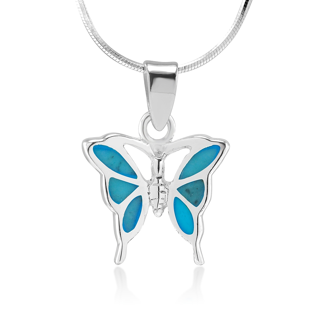 925 Sterling Silver Butterfly Blue Turquoise Inlay Pendant Necklace, 18 inches