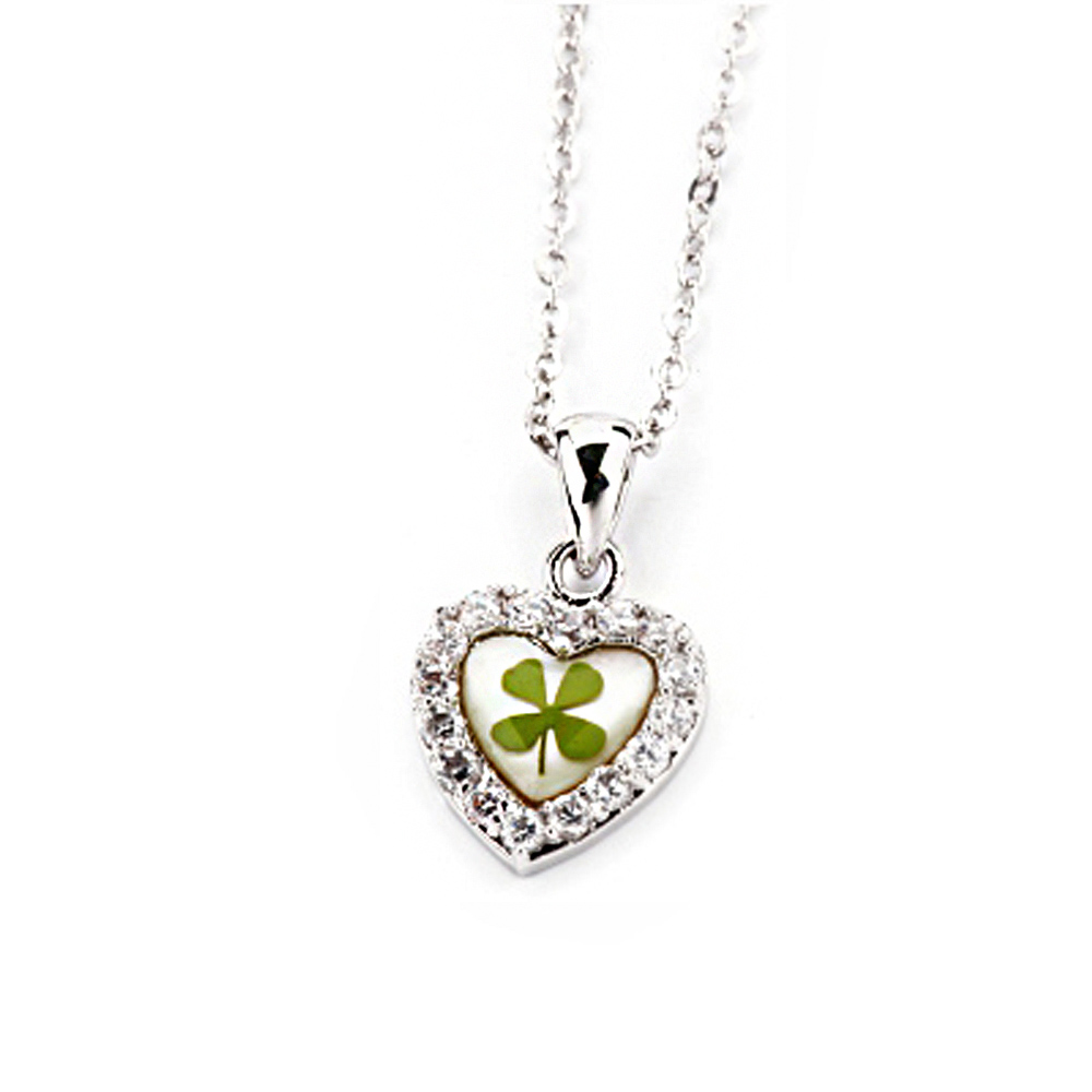 Stainless Steel Real Irish Four Leaf Clover Heart Shaped Pendant Necklace, 16-18 inches