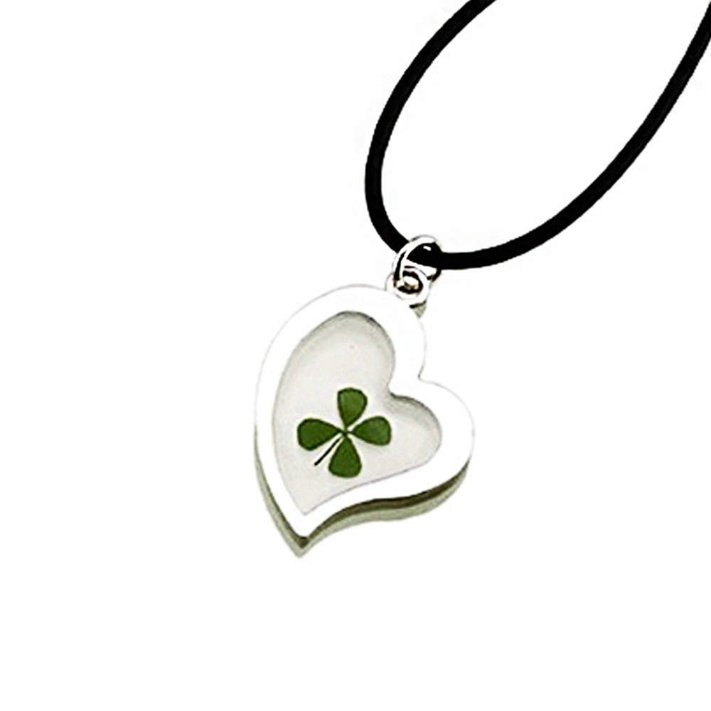 Stainless Steel and Black Cord Real Four Leaf Clover Heart Pendant Necklace