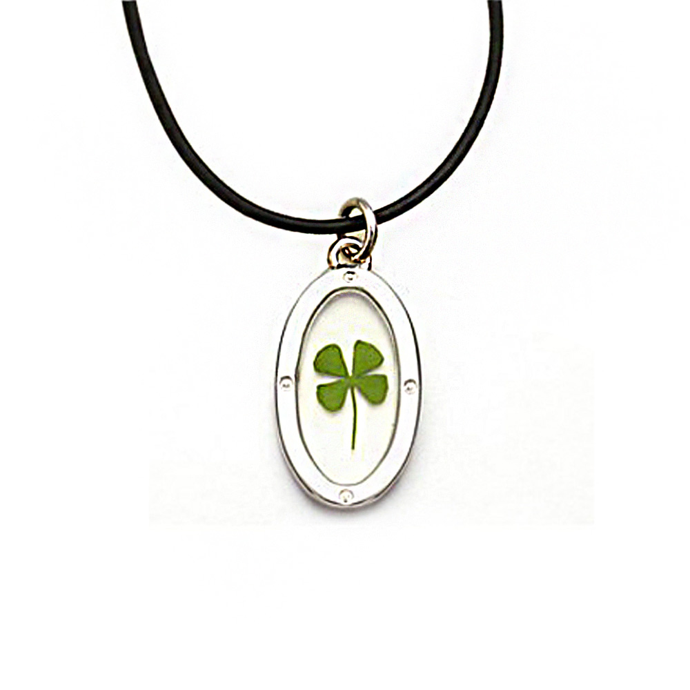 Black Cord Real Irish Four Leaf Clover Good Luck Symbol Clear Oval Shaped Pendant Necklace, 16-18""