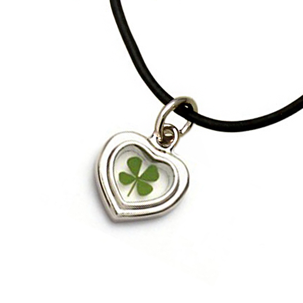 Stainless Steel and Black Cord Real Four Leaf Clover Good Luck Heart Pendant Necklace