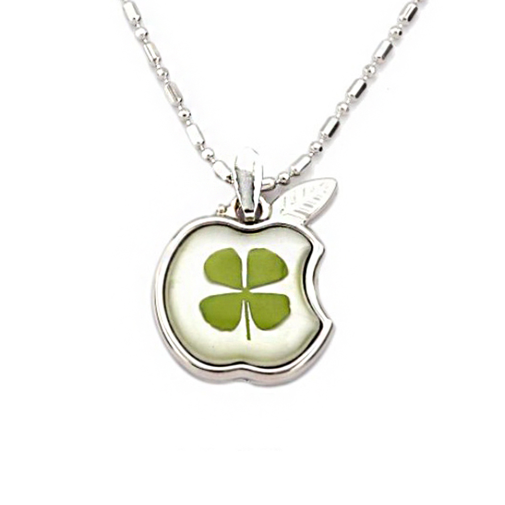 Stainless Steel Real Irish Four Leaf Clover Apple Good Luck Teacher Pendant Necklace, 16-18 inches