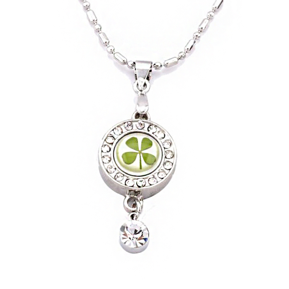 Stainless Steel Real Lucky Four Leaf Clover Round Pendant Necklace, 16-18 inches