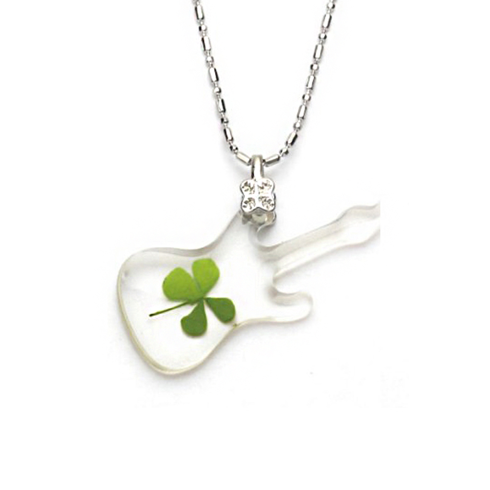 Stainless Steel Real Irish Four Leaf Clover Guitar Good Luck Music Pendant Necklace, 16-18 inches