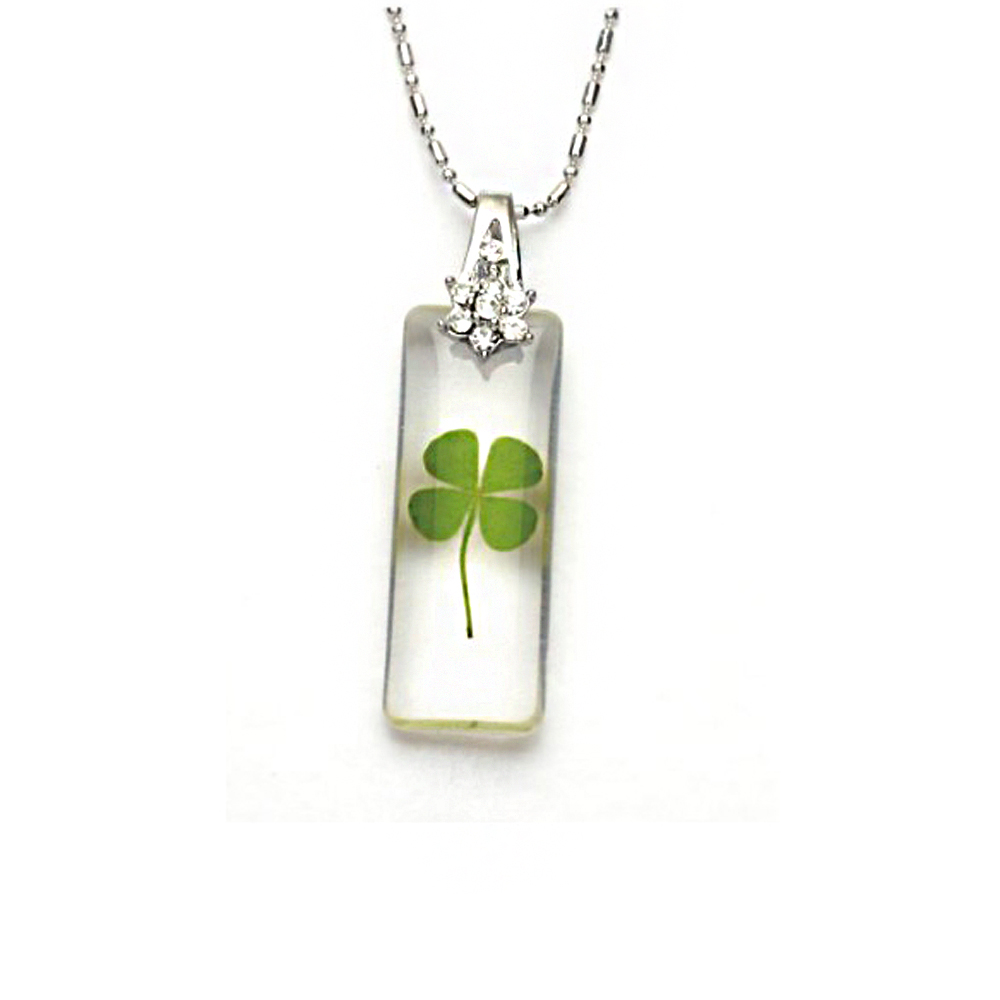 Stainless Steel Real Four Leaf Clover Good Luck Rectangular Clear PendantNecklace, 16-18 inches