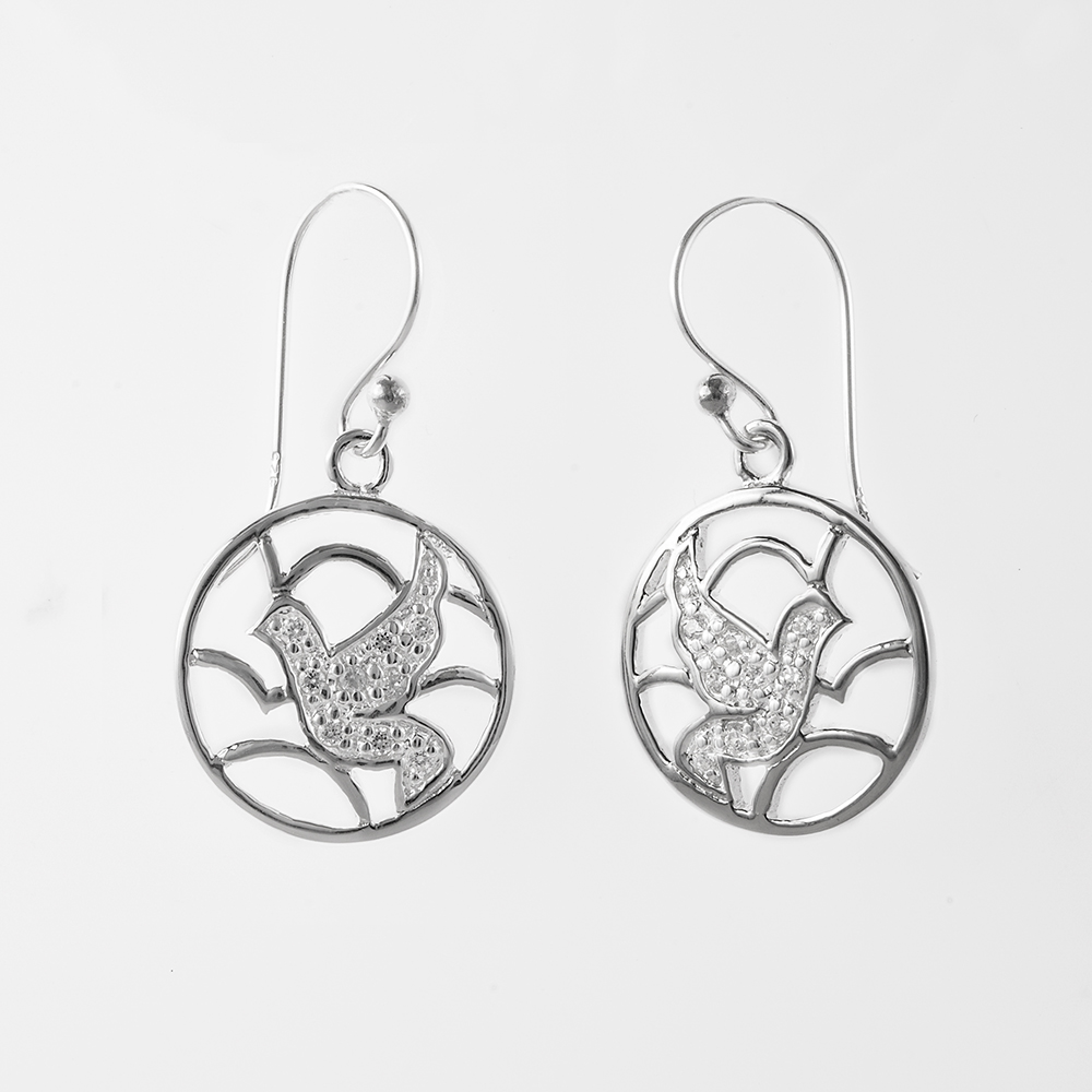 925 Sterling Silver Bird Bird in the Sky Dangle Hook Earrings
