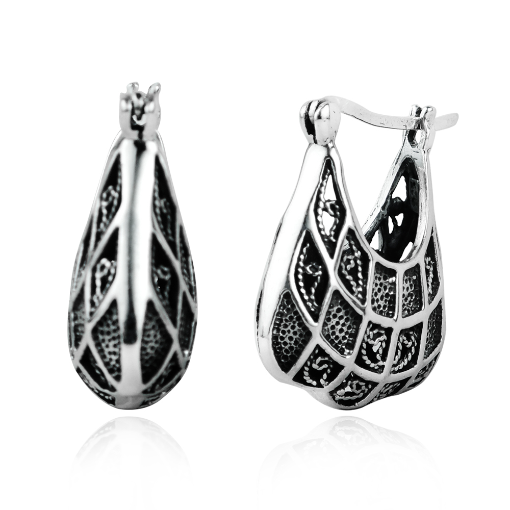 Silver Alloy Bali Inspired Round Hook Earrings