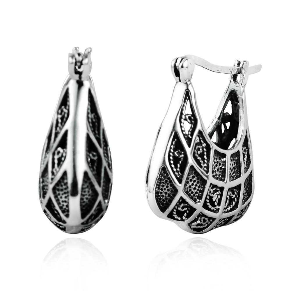 Silver Alloy Bali Inspired Round Hook Earrings