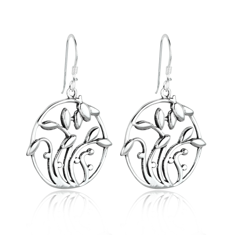 Silver Alloy Celtic Filigree Dangle Earrings
