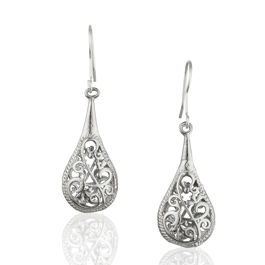 Starfish Project, Silver-Toned Bali Design Teardrop Earrings with 925 Sterling Silver Hooks