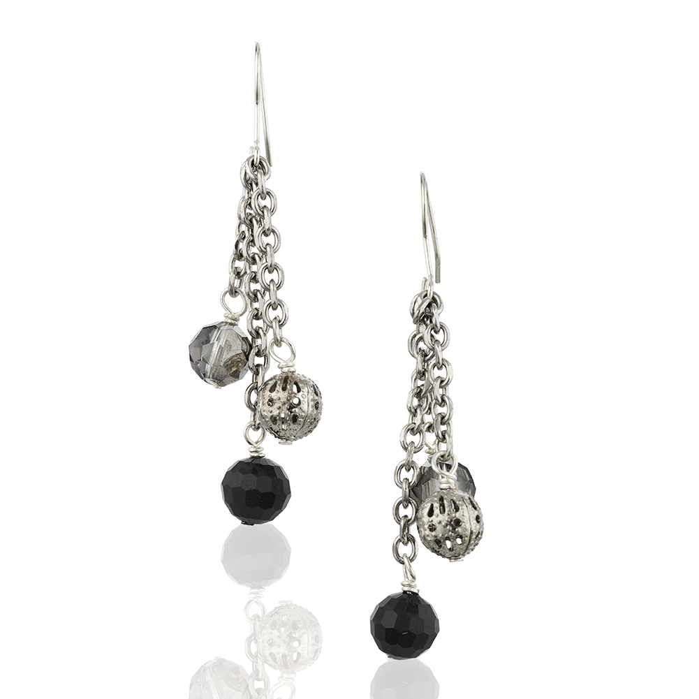 Starfish Project, Black and Bali Bead Earrings with 925 Sterling Silver Hooks