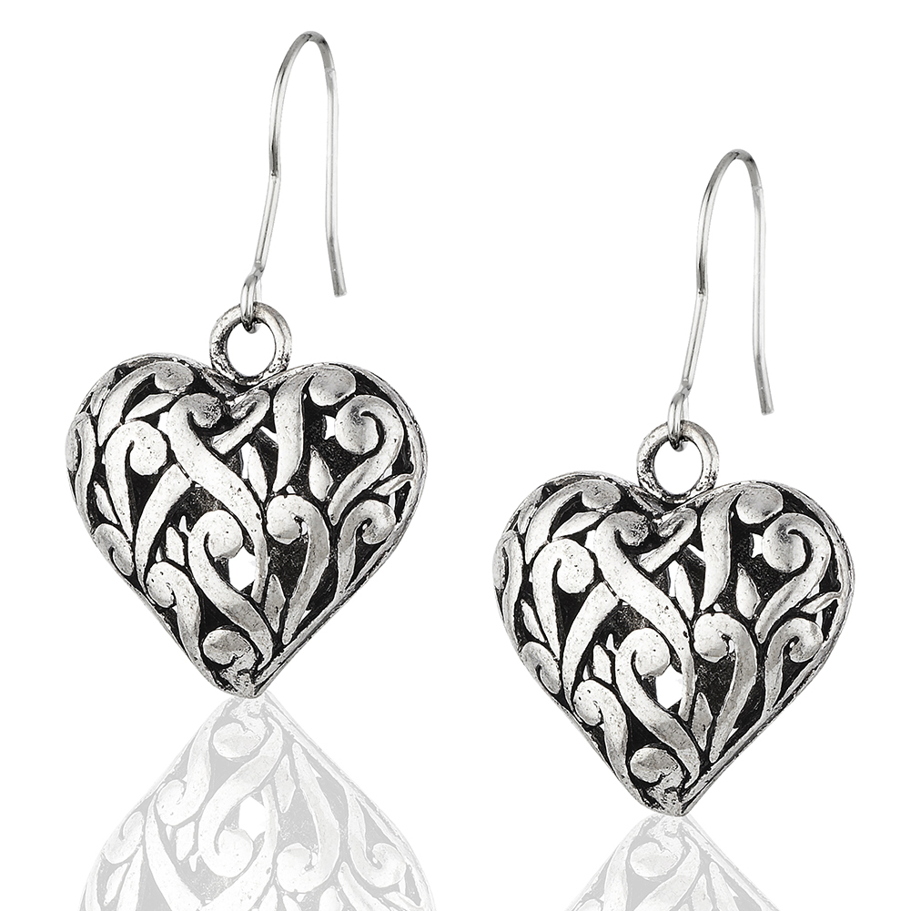 Starfish Project, Silver Lattice Heart Earrings with 925 Sterling Silver Hooks