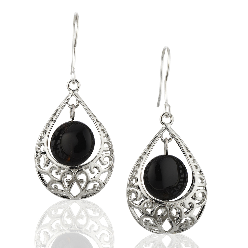 Starfish Project, Lattice Teardrop and Black Bead Earrings with 925 Sterling Silver Hooks