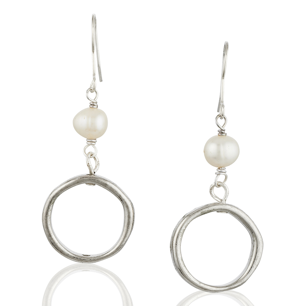 Starfish Project, White Freshwater Pearl and Silver-Toned Hoop Drop Earrings, 925 Sterling Hooks