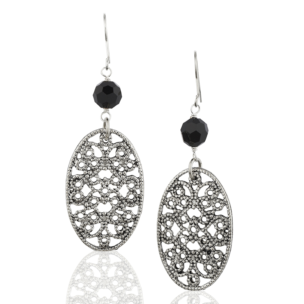 Starfish Project, Silver Lattice Oval and Crystal Black Bead Earrings with 925 Sterling Silver Hooks