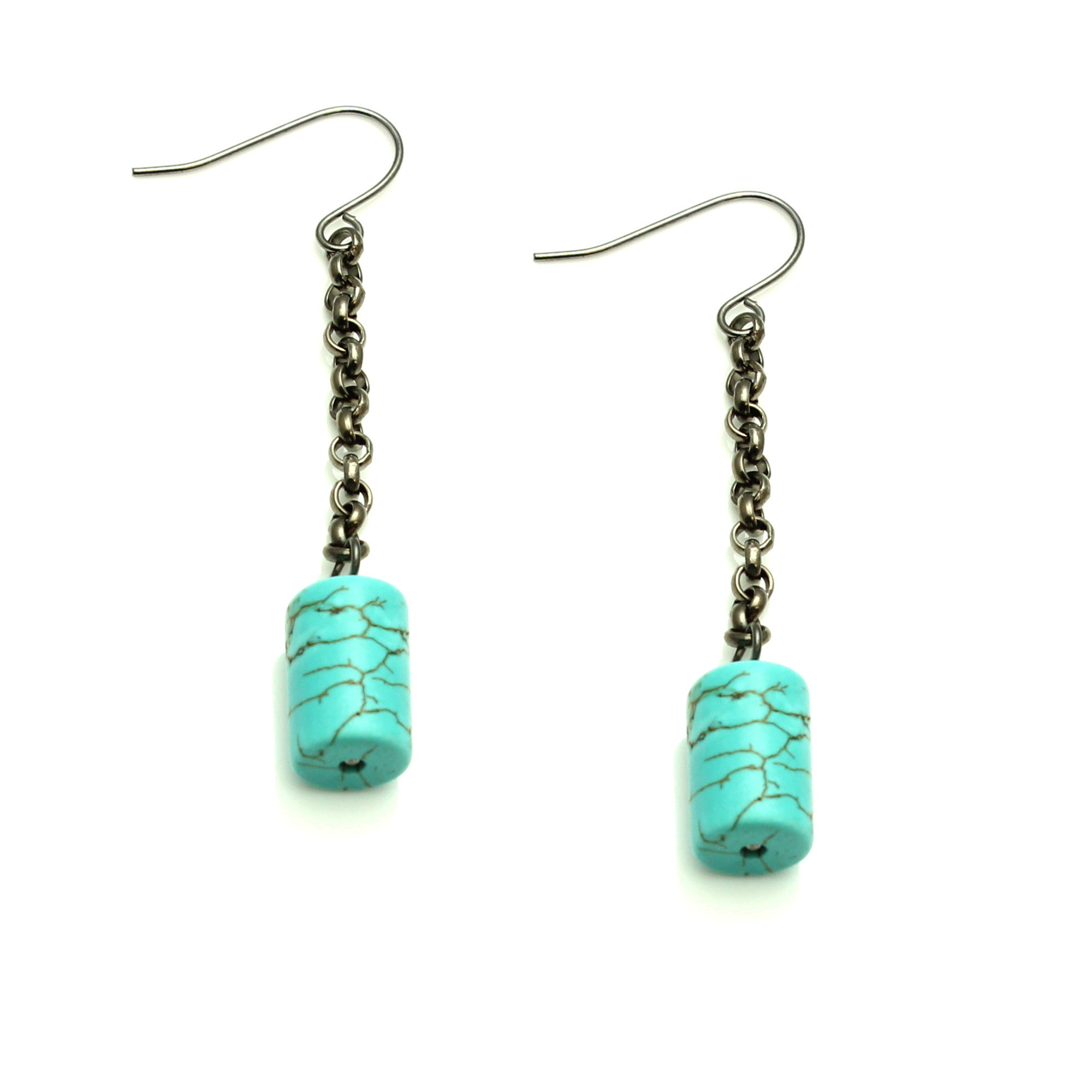 Starfish Project, Turquoise and Howlite Cylindrical Stone Dangle Earrings on Gunmetal Hooks