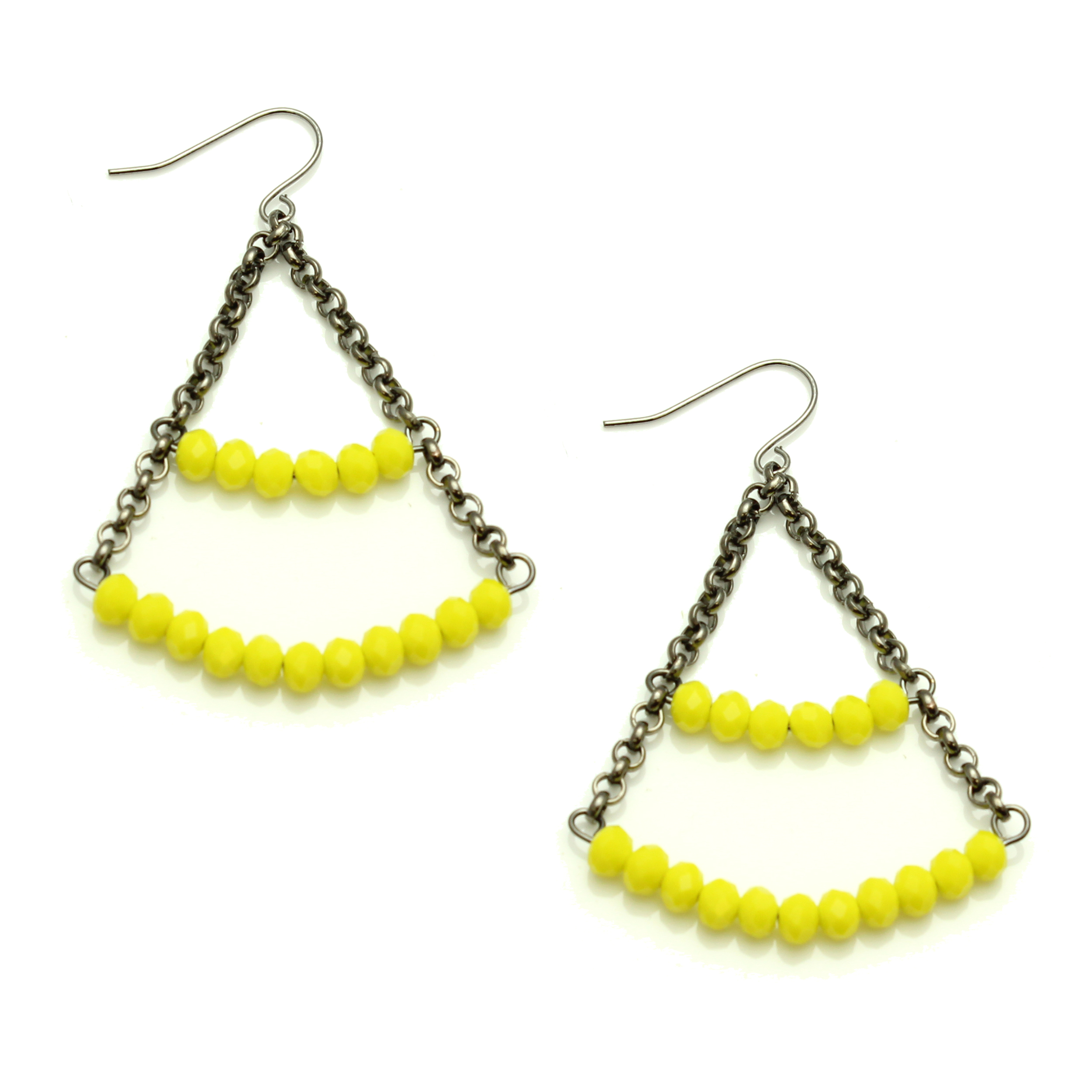 Starfish Project, Yellow Crystal Cut Bead and Gunmetal Chain Dangle Earrings