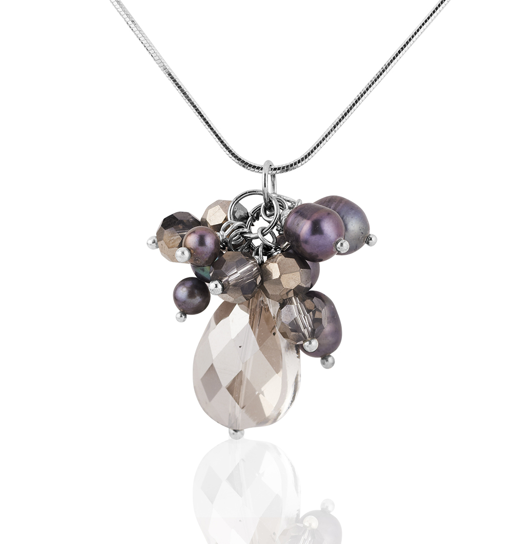 Starfish Project, Purple Mother-of-Pearl and Crystal Bead Pendant Necklace, 18 In 925 Sterling Chain