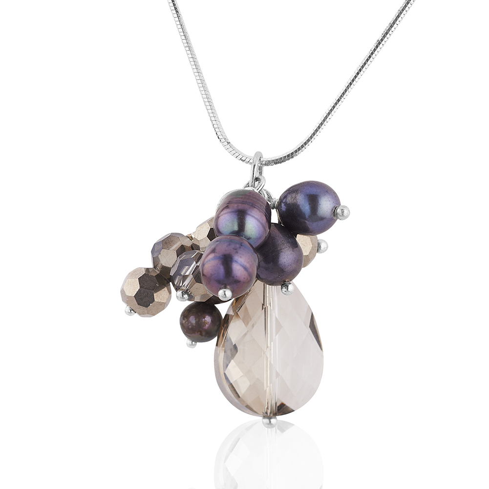 Starfish Project, Purple Mother-of-Pearl and Crystal Bead Pendant Necklace, 16 Inch 925 Sterling Chain