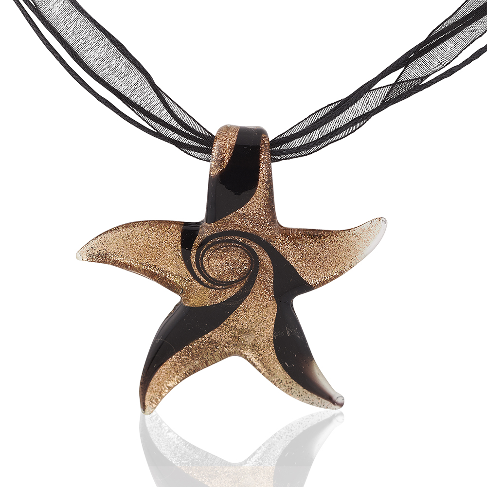 Starfish Project, Golden Lampwork Starfish Pendant with Black Ribbon Necklace, Adjustable 17-19 Inches