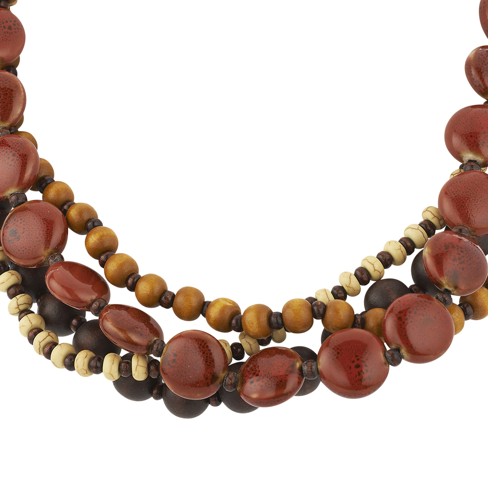 Starfish Project, Red, Yellow and Brown Ceramic and Wood Bead Tribal Necklace, Adjustable 20-22 Inches