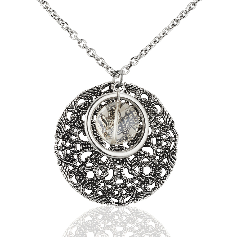 Starfish Project, Silver Lattice Disc and Crystal Bead Pendant with Stainless Steel Chain