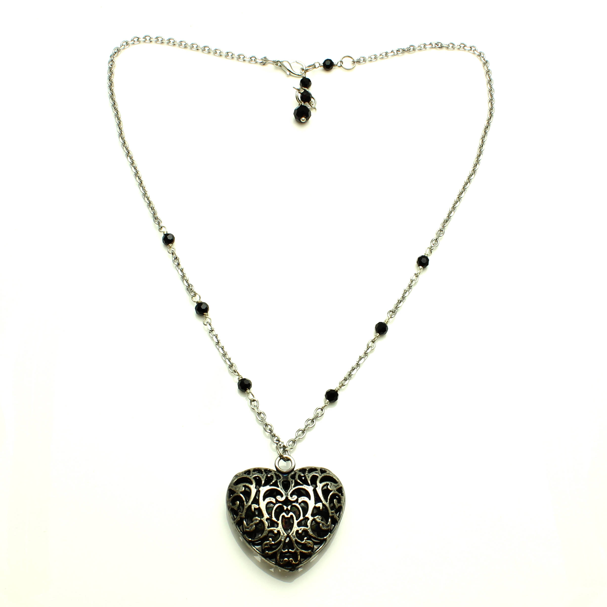 Starfish Project, Heart Pendant with Black Crystal Beads on a Silver Adjustable Chain 19-21 Inches