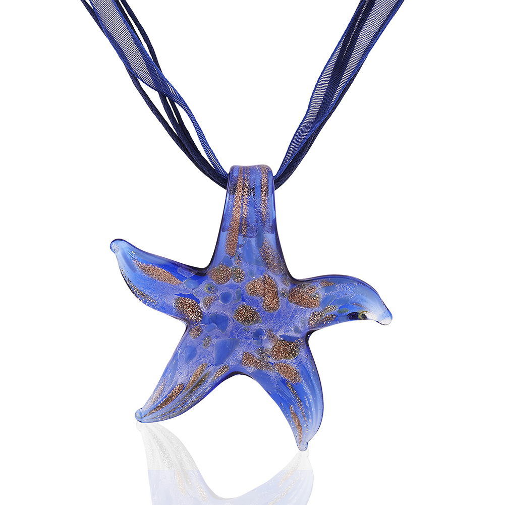 Starfish Project, Blue Lampwork Glass Signature Starfish Pendant Necklace, Adjustable 17-19 Inches