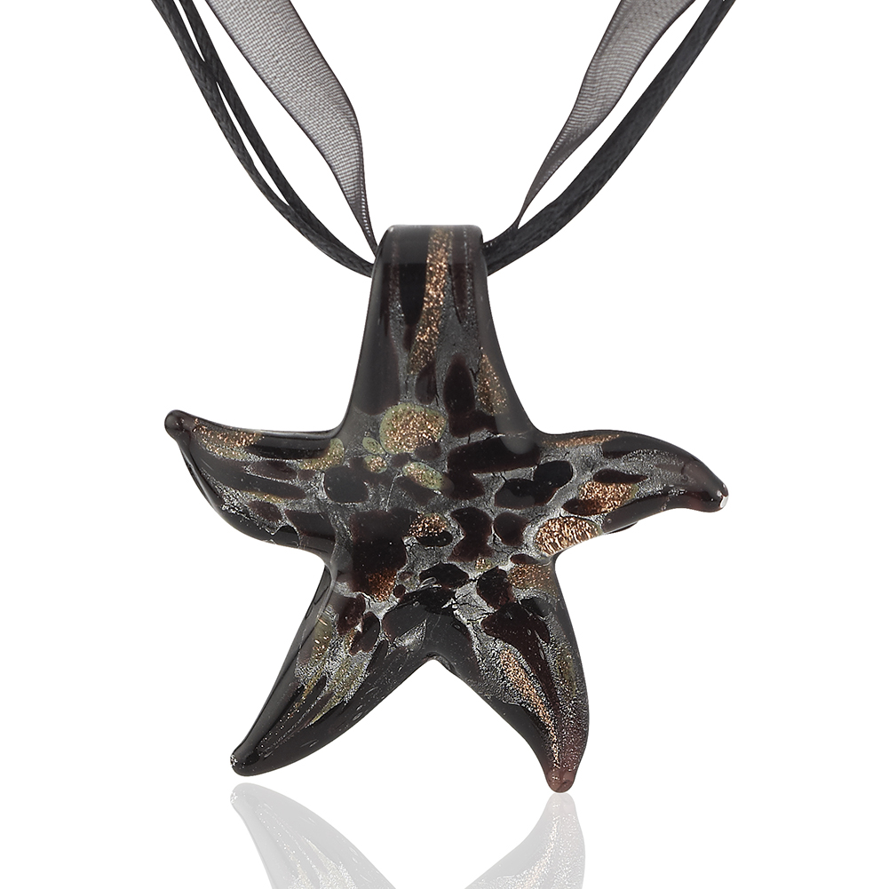 Starfish Project, Gold Lampwork Glass Starfish Pendant Necklace, Adjustable Length 17-19 Inches