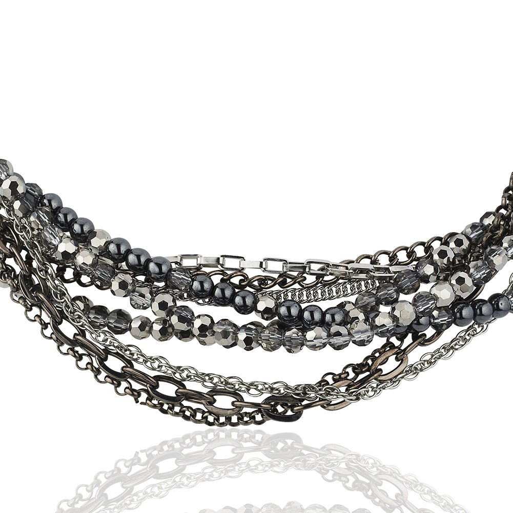 Starfish Project, Crystal and Metal Bead Multi-Strand Stainless Steel Necklace, Adjustable 19-21 In