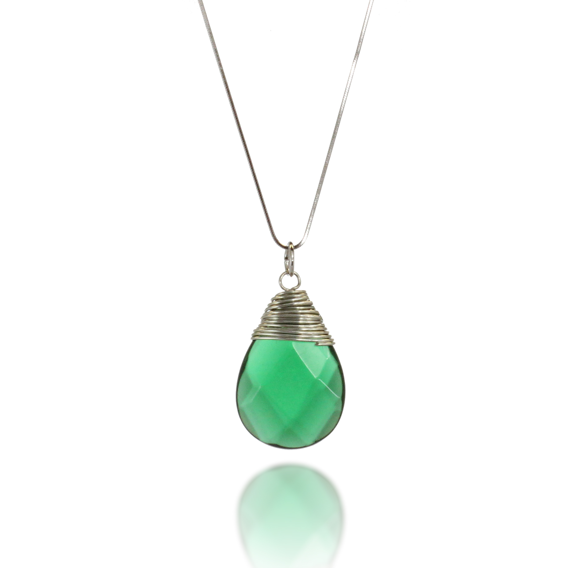 Starfish Project, Pine Green Wire-Wrapped Teardrop 16 inch Pendant Necklace