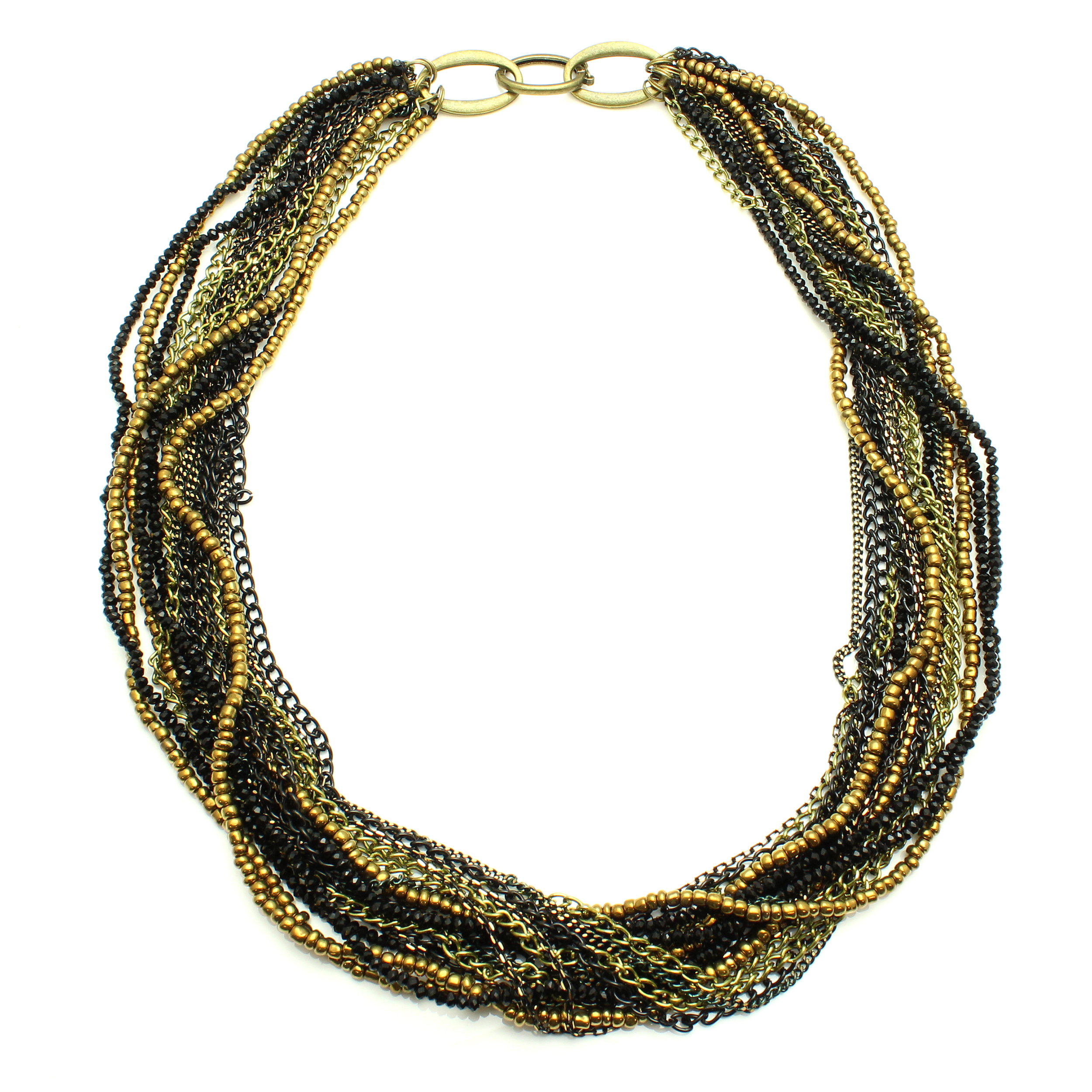 Starfish Project, Black Crystal and Antique Gold-Toned Chain Multi-Strand Adjustable Necklace