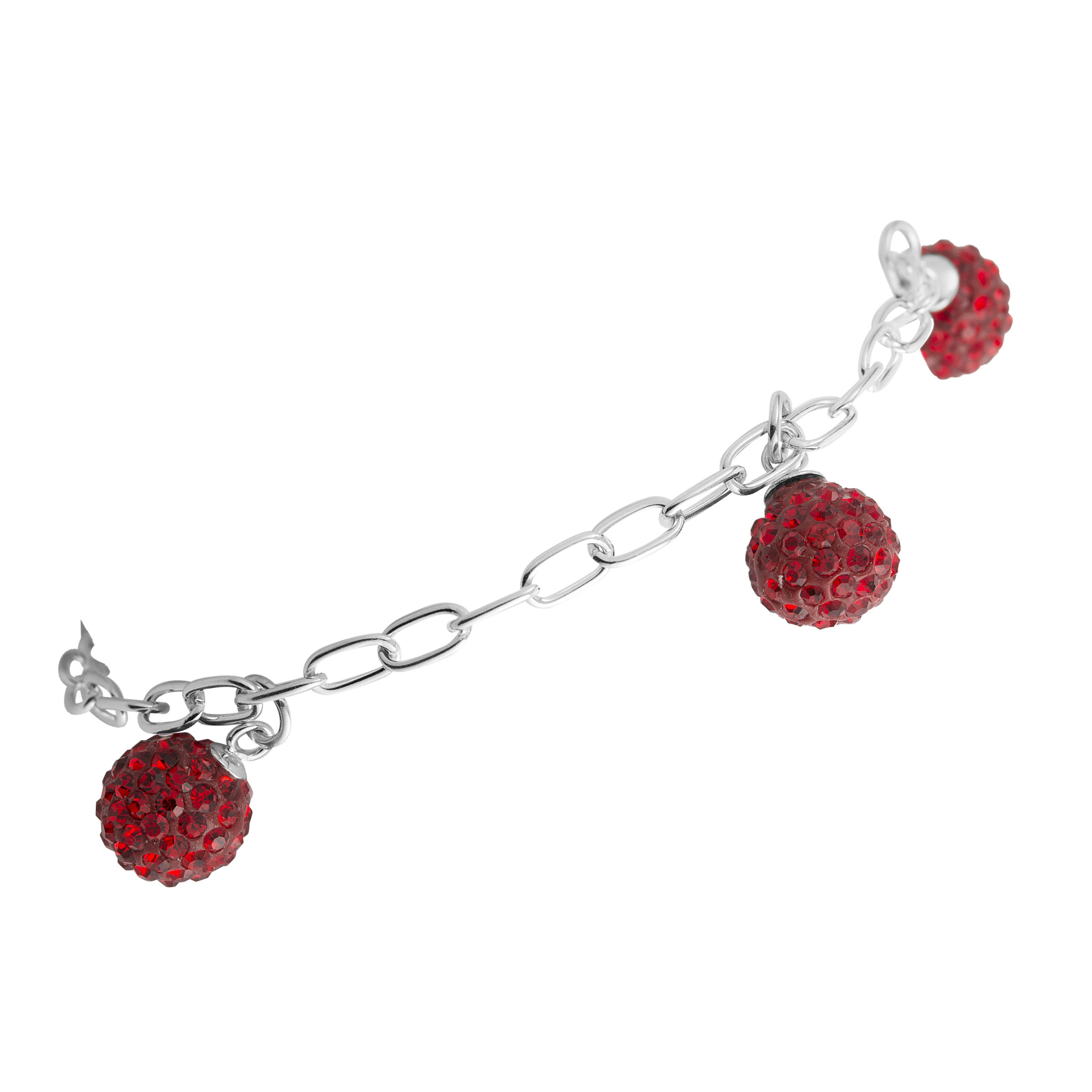 925 Sterling Silver Charm Bracelet, Red Crystal Glass Balls, Nickel Free, Jewelry For Women, Girls