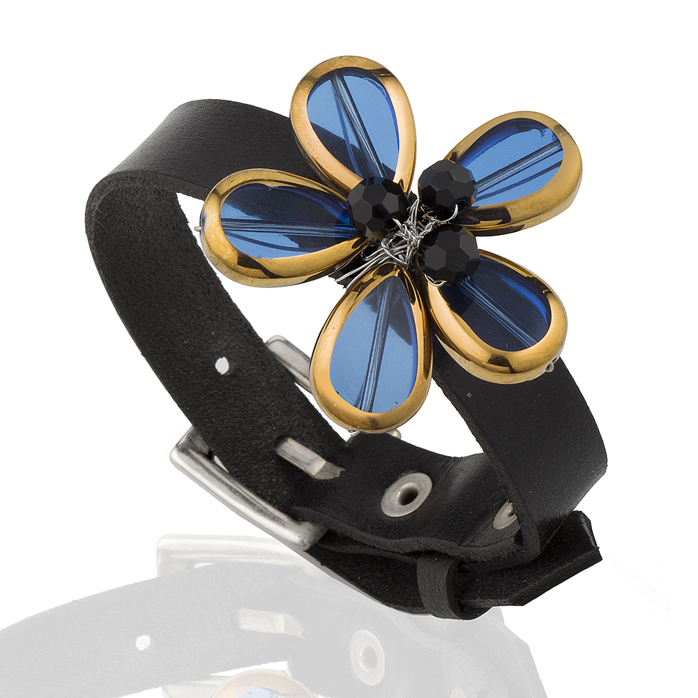 Black Onyx Crystal Glass Beaded Blue Flower Leather Cuff Bracelet, Jewelry, Adjustable 6