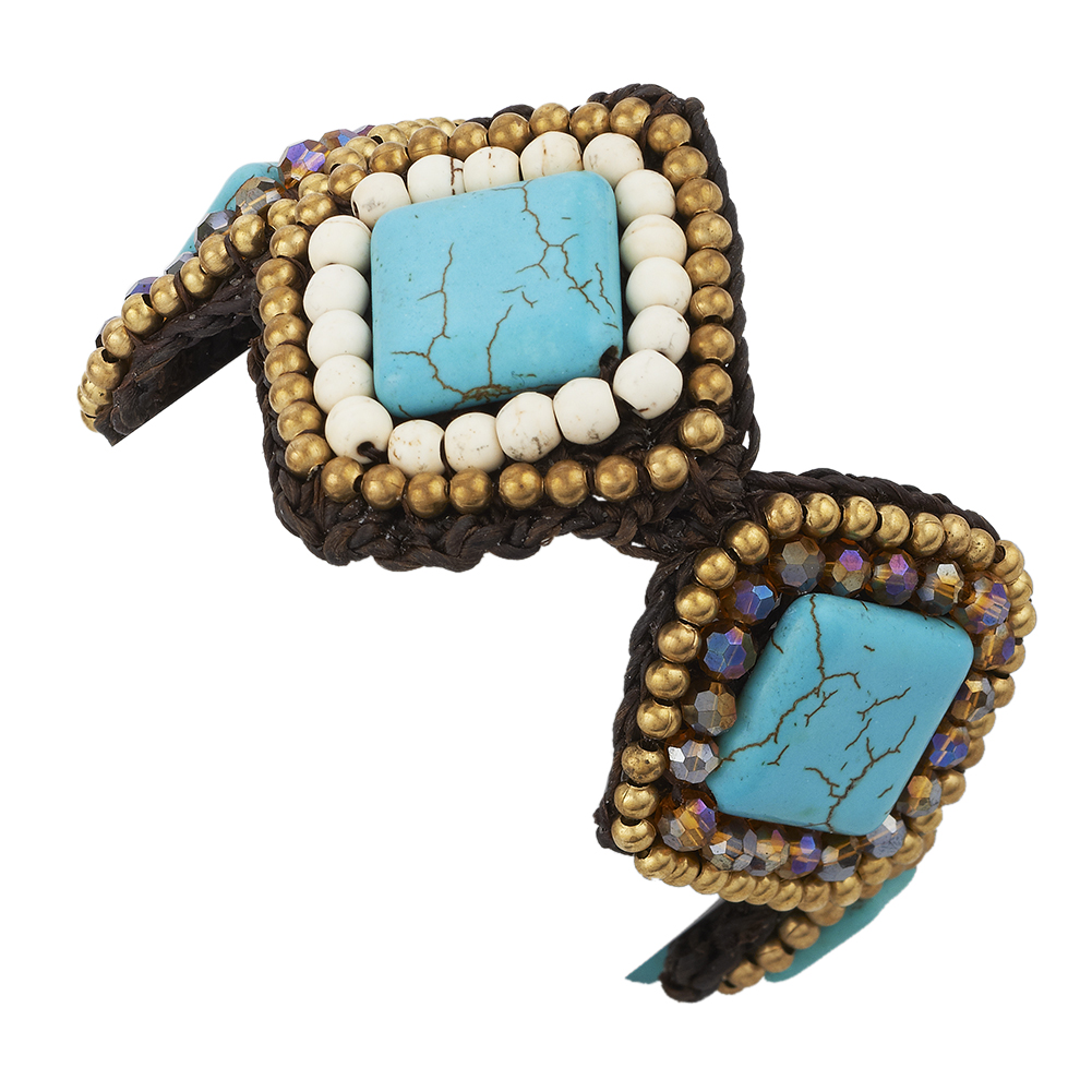 Square Turquoise Adjustable Bracelet, Decorated w/ Howlite & Crystal Glass Beads; Jewelry For women