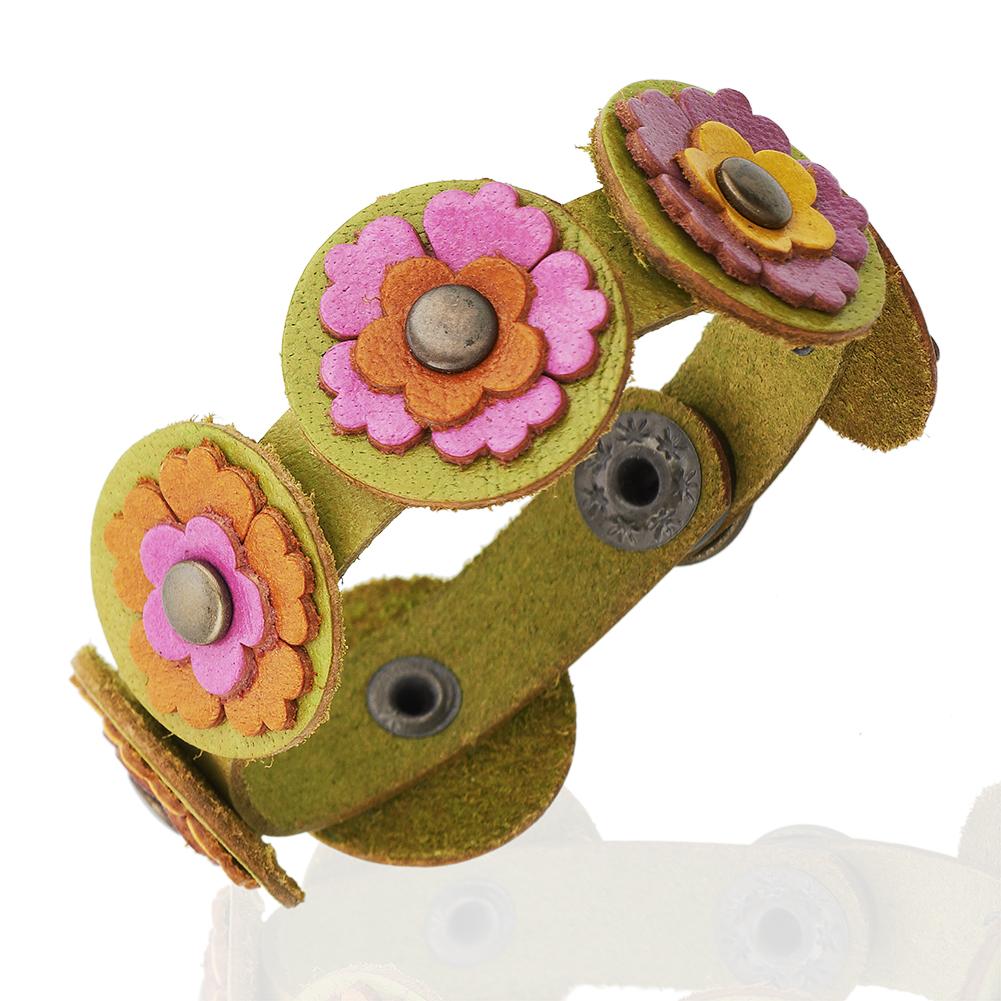 24mm Wide Leather Multi-Colored Flower Cuff Bracelet, Jewelry For Women, Girls