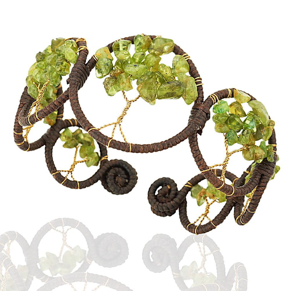 Handmade Cotton Wax and Brass Tree of Life Green Peridot Gemstone Cuff Bracelet