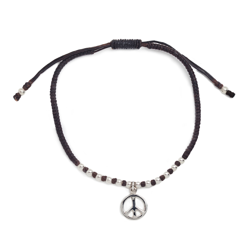 925 Sterling Silver Peace Sign Charm Brown Cord Wrap Bracelet, Jewelry For Women, Girls