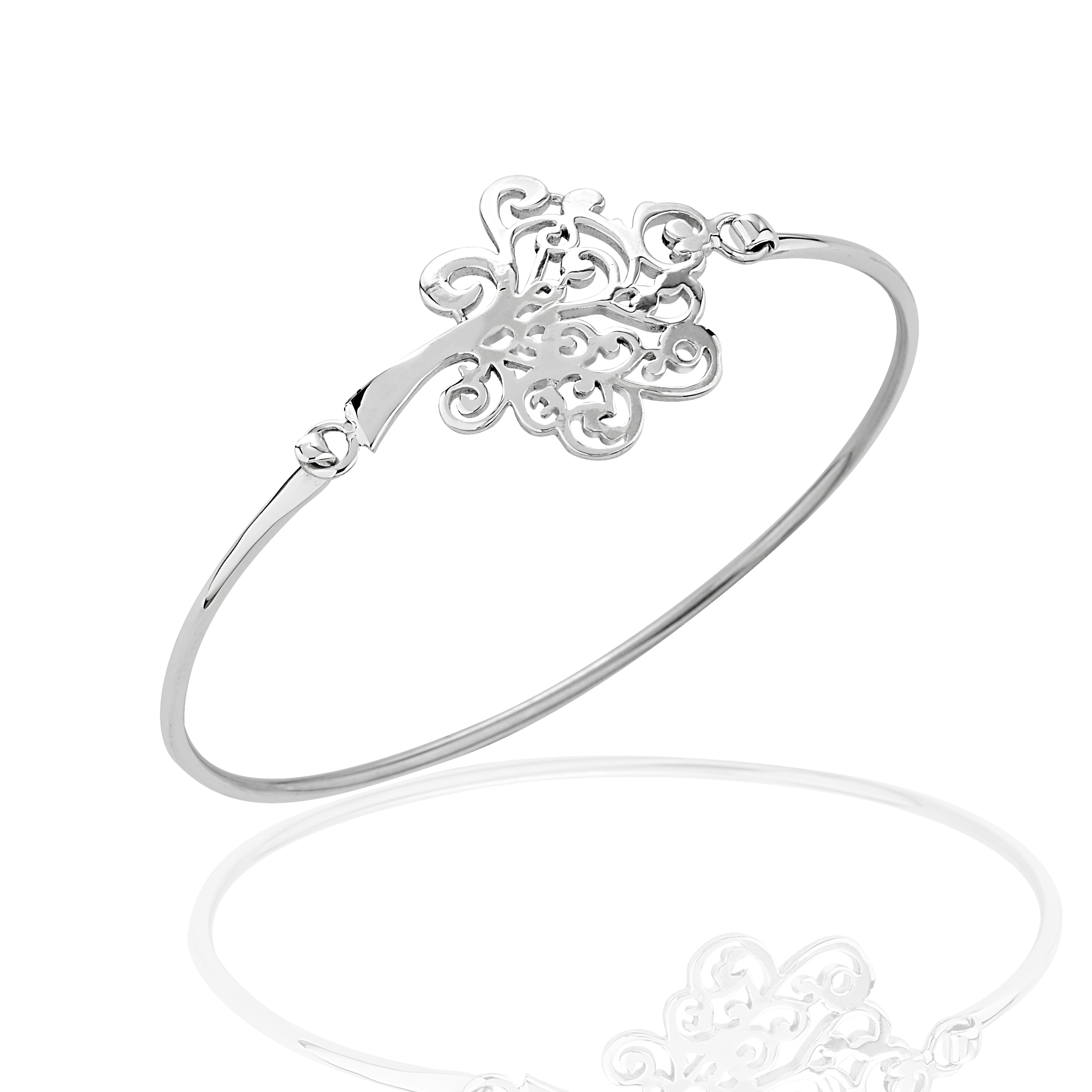925 Sterling Silver Thin Line Tree of Life Curved Wrap Bangle Bracelet