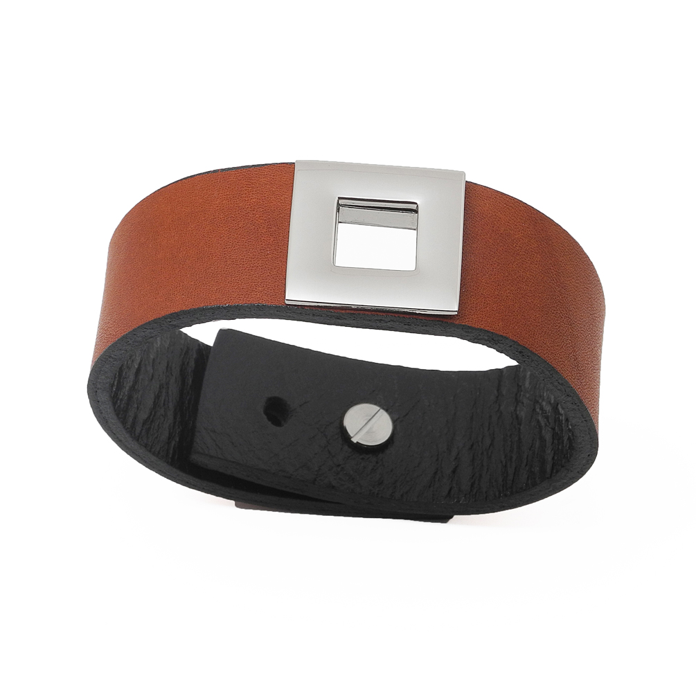 Stainless, Rhodium Square Charm Wide Brown Leather Wrap Bracelet, Fashion Jewelry For Women, Girls