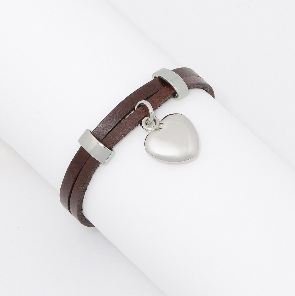 Double Brown Leather Strands w/ Threaded Solid Stainless Heart Charm Wrap Bracelet Women, Girls