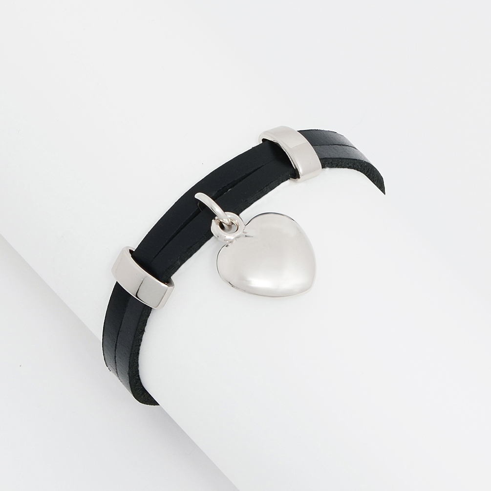 Double Black Leather Strands w/ Threaded Solid Stainless Heart Charm Wrap Bracelet Women, Girls