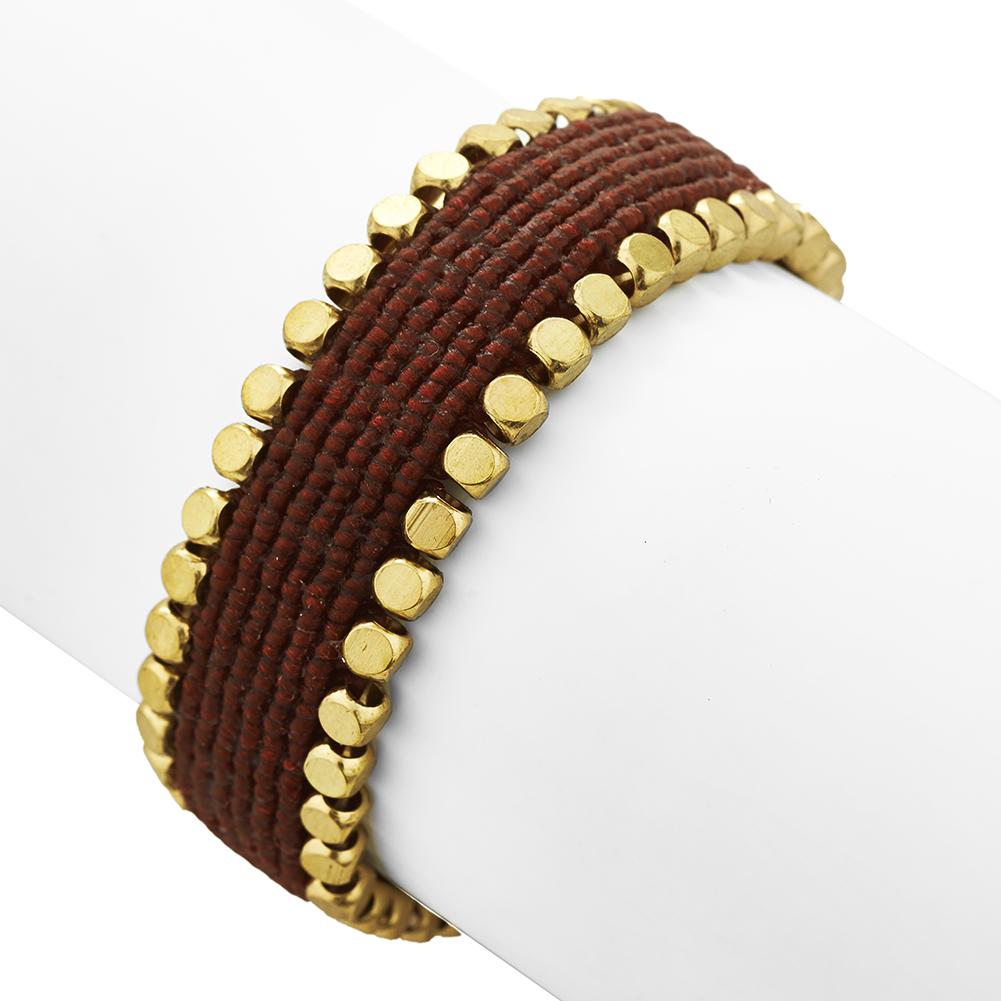 Wide Band Brass & Red Seed Bead Bracelet, Jewelry For Women, Girls & Men