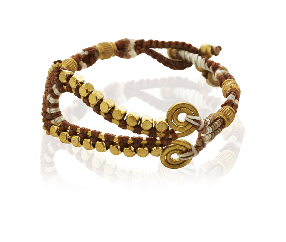 Brown Seed Beads & Brass Teardrop Shape Cotton Wax Bracelet, Jewelry for Women, Girls & Men