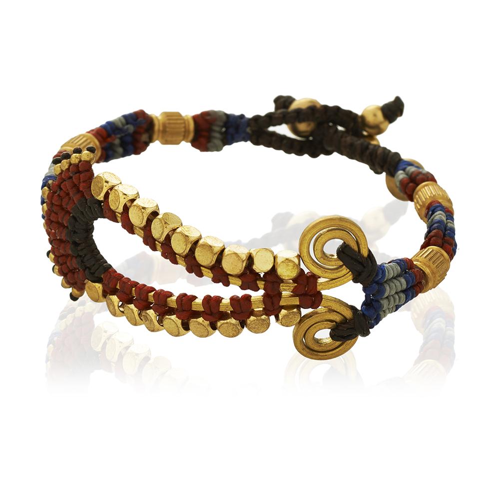 Blue Seed Beads & Brass Teardrop Shape Cotton Wax Bracelet, Jewelry for Women, Girls & Men
